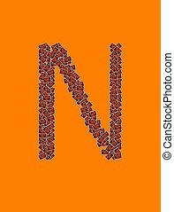 lycklig, halloween, alfabet brev, n
