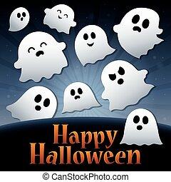 lycklig, halloween, underteckna, tematisk, avbild, 3