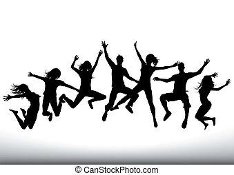 lycklig, hoppa, folk