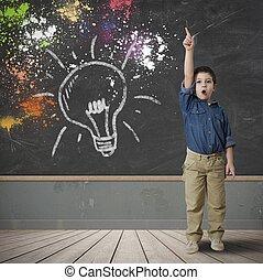 lycklig, idé, barn