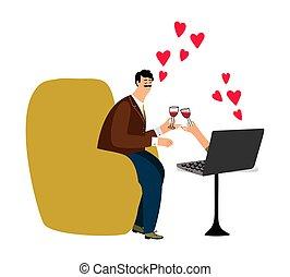 lycklig, kärlek, illustration., par, notebook., vektor, pratstund, direkt datering, man