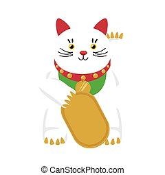 lycklig katt, hålla, mynt, japan, ikon