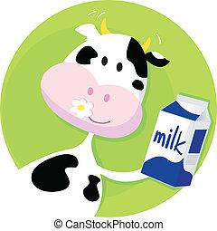 lycklig, ko, med, mjölk, boxas, på, grön