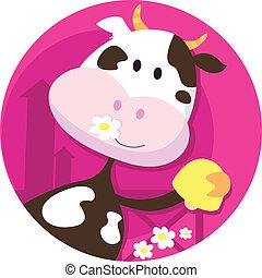 lycklig, ko, tecken, med, klocka