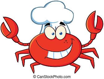 lycklig, krabba, kock