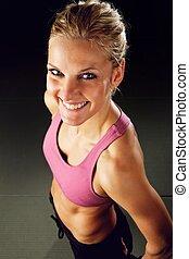 lycklig, kvinna,  fitness