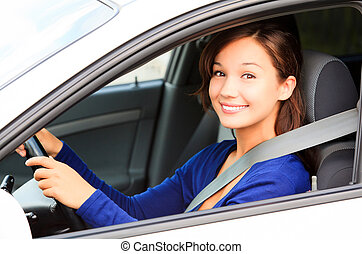 lycklig, kvinnlig, chaufför