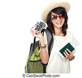 lycklig, kvinnlig, redo gå, på semester
