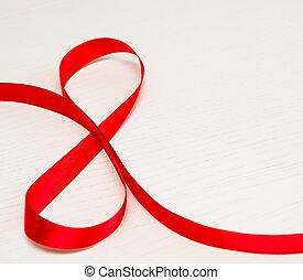 lycklig, kvinnor, day., röd, gåva, band, in, 8, siffra, form