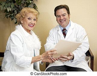 lycklig, läkare, tålmodig