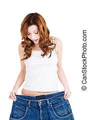 lycklig, lämplig, kvinna, med, stora byxor, visande, hur, mycket, vikt, hon, lost., isolerat, på, white.