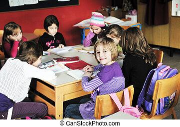 lycklig, lärare, klassrum, lurar, skola