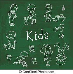 lycklig, leka, barn