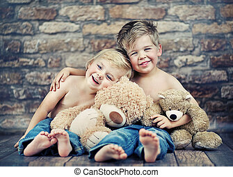 lycklig, leka, bröder, två, toys