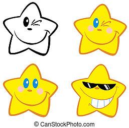 lycklig, litet, stjärnor