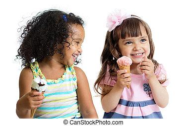lycklig, lurar, två flickor, äta, glass, isolerat