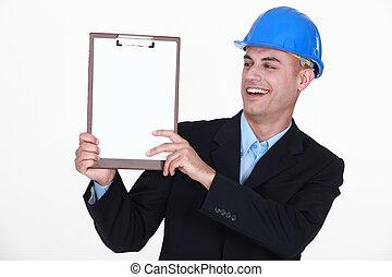 lycklig, man, holdingen, clip-board