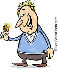 lycklig, man, med, gyllene, mynt, tecknad film