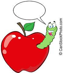 lycklig, mask, in, rött äpple
