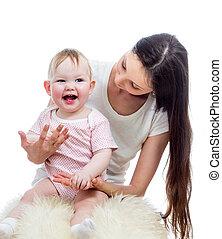 lycklig, mor och baby, lek