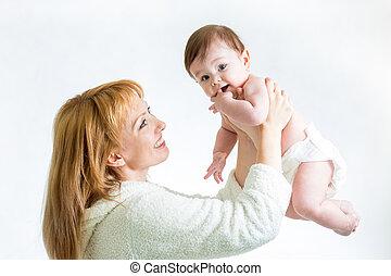 lycklig, mor, och, henne, baby