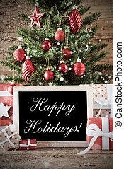 lycklig, nostalgisk, träd, jul, lov