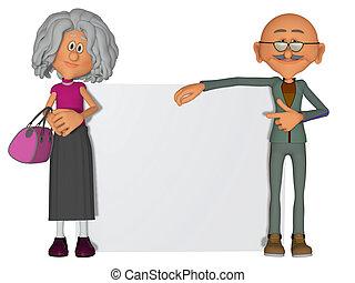 lycklig, och, motivera, gammalt folk, med, affisch, 3