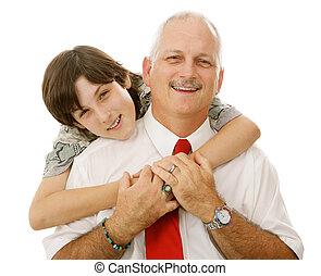 lycklig, pappa och son