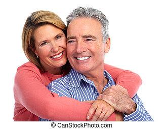 lycklig, par., äldre, skratta