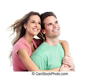 lycklig, par., ung