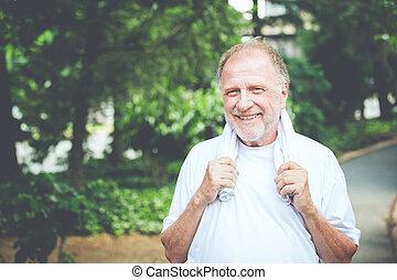 lycklig, pensionerat, gammal man