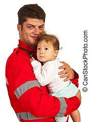 lycklig, person med paramedicinsk utbildning, med, baby pojke