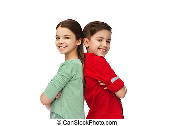 lycklig, pojke och flicka, stående, tillsammans