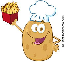 lycklig, potatis, kock