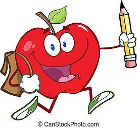 lycklig, rött äpple, med, skola väska