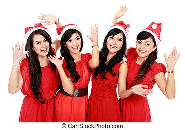 lycklig, roliga folk, med, jul, jultomten hatt
