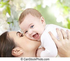 lycklig, skratta, baby, leka, med, mor