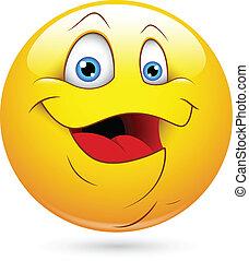 lycklig, smiley, fett, ansikte