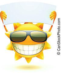 lycklig, sol, sommar