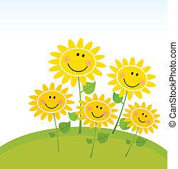 lycklig, solrosor, trädgård, fjäder