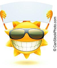 lycklig, sommar, sol