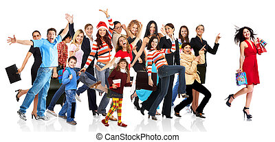 lycklig, spring, folk, grupp