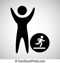 lycklig, spring, ikon, man