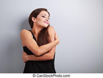 lycklig, stark, prålig, kvinna, krama, sig, med, naturlig,...