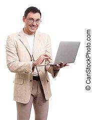 lycklig, stilig, man med laptopen