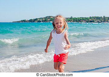 lycklig, strand, sommar, flicka, semester, tycka om