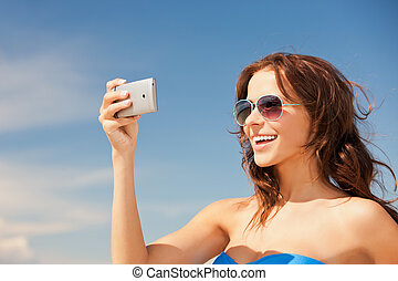 lycklig, strand, telefonera kvinna
