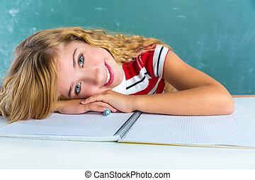lycklig, student, uttryck, skolflicka, in, klassrum