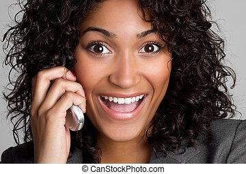 lycklig, telefonera kvinna