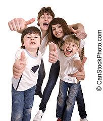 lycklig, thumb., familj, kasta, ute